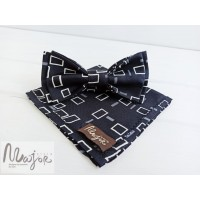 Шелковая галстук-бабочка синяя с узором