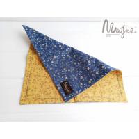 Сине-жёлтый платок Паше двухсторонний в цветочки
