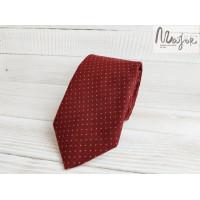 Бордовый галстук в горошек