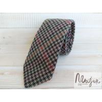 Шерстяной галстук оранжево-зеленая гусья лапка
