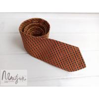 Шелковый галстук в сине-оранжевую полоску