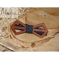 Деревянная галстук-бабочка темно-синий горошек