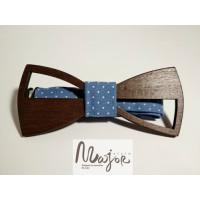 Деревянная бабочка галстук голубой горошек